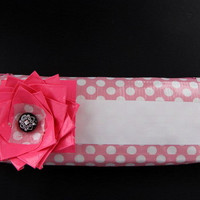 Clutch-Pink and White Polka Dot Duct Tape with Flower