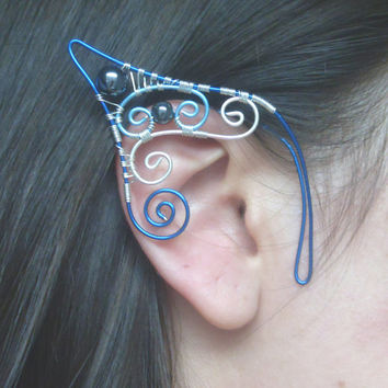 Water Sprite! Handmade Blue & Silver Plated Wire Wrapped Elf Ear Cuffs, Mermaid Ears, Elven Ears, LARP, Pixie Ears, Fancy Dress