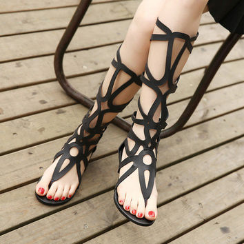 Hollow flat sandals - Women's Shoes = 4636027204