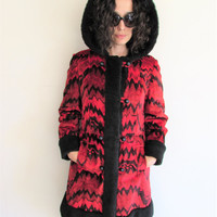 Vintage Penny Lane Red and Black Betty Rose Tapestry Coat with Faux Fur