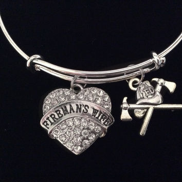 Fireman's Wife Expandable Charm Bracelet Silver Adjustable Bangle Gift Trendy Firefighter