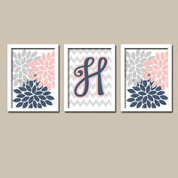Navy Light Pink Grey Monogram Flower Burst Letter Initial Set of 3 Trio Prints Chevron Wall Decor Abstract Art Bedroom Picture Nursery