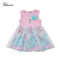 2018 Brand New Toddler Infant Child Kids Baby Girls Floral Unicorn Pageant Party Tulle Tutu Chiffon Dress Cartoon Sundress 6M-4T