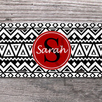 Black Aztec Personalized License Plate with Red monogram circle, custom name or initials, monogrammed car tag - 405