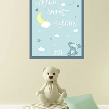 Personalized Name New Baby Boy Nursery Decor ~ Dream Sweet Dreams Personalised Print ~ Custom Kids Playroom Wall Art Christening Gifts Boys