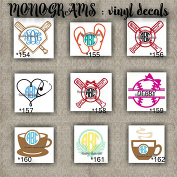 MONOGRAM vinyl decals | name | initial | decal | sticker | car decals | car stickers | laptop sticker - 154-162
