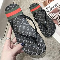 GUCCI Summer Popular Women Casual GG Letter Flat Sandal Slipper Shoes Flip-Flops Black