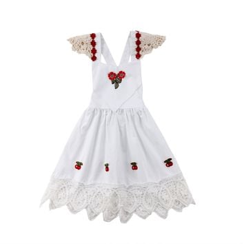 Toddler Baby Kids Girl Floral Lace White Princess Dress Strawberry Party Wedding Infant Little Girl Dress