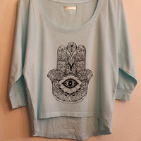 blue hamsa dolman shirt small
