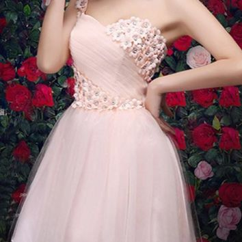 Pink Floral Lace Grenadine One-shoulder Bridesmaid Tulle Tutu Sweet Patchwork Mini Dress