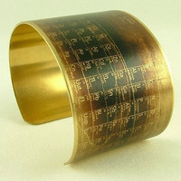 Steampunk Style Brass Cuff Bracelet - Chemical Periodic Table - Chemistry Jewelry