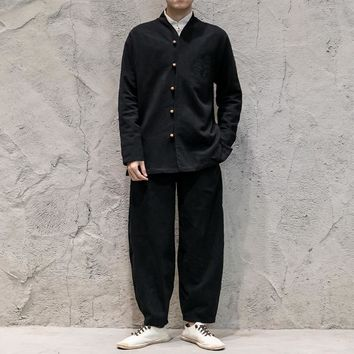 Men Chinese Style Cotton Linen Kung Fu Costumes 2 Pieces Sets Male Long Sleeve Coat + Casual Trousers