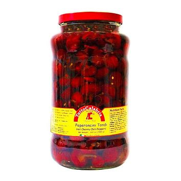 Tutto Calabria Hot Cherry Chili Peppers in Oil, Large Jar, 102 oz (2900 g)