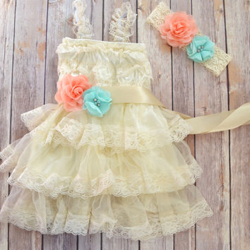 Coral Mint Ivory Lace Flower Girl Dress Headband