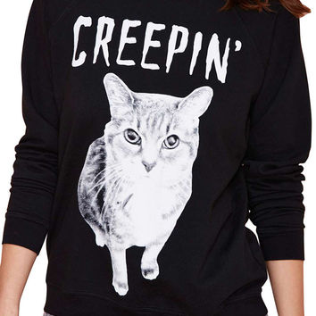 Creeping Cat Pattern Women Long Sleeves Sweatshirt