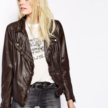 Muubaa Monteria Leather Biker Jacket - Dark chocolate