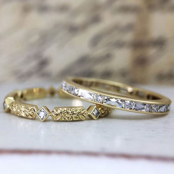 """French Cut and Round Diamond """"Riviére"""" Partial Eternity Band by CvB"""
