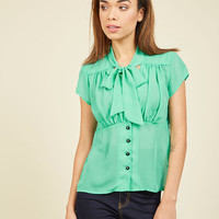 Creative Leadership Top in Spearmint | Mod Retro Vintage Short Sleeve Shirts | ModCloth.com