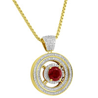 Red Ruby CZ Pendant Solitaire Round Charm 14k Gold Tone Simulated Diamond Chain