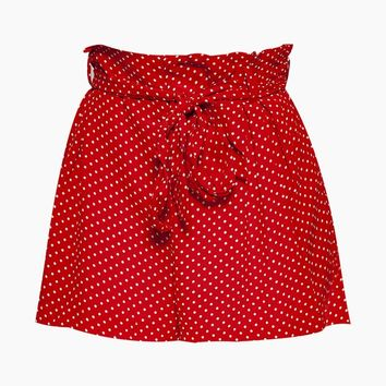 Carina High Waist Belted Shorts - Candy Red Polka Dot Print