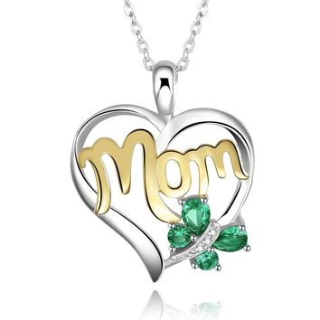 "925 Sterling Silver and 18k Gold Plated Green Emerald Butterfly ""Mom"" Love Heart Pendant Necklace"