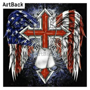 5D Diamond Painting Red American Cross and Dog Tags Kit