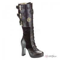 Crypto Steampunk Knee Boot - Demonia Gothic Shoes & Boots from ShoeOodles