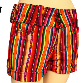 Tribal Peruvian, Multicolor, Andean fabric, low rise, low waist, Boho shorts with bronze-colored, heart-shaped tacks