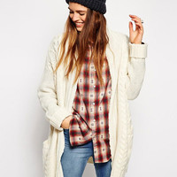White Double Pocket Long Cardigan