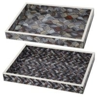 Asst. of 2 Marbelized Trays, Gray, Decorative Trays