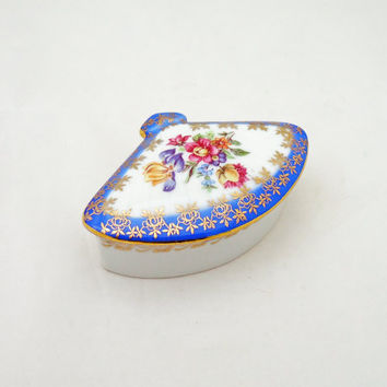 Vintage Dresden China Trinket Box, Dresden Jewellery Box, Vintage Blue Fan Shaped Dresden China Trinket Box, Floral Design Trinket Box
