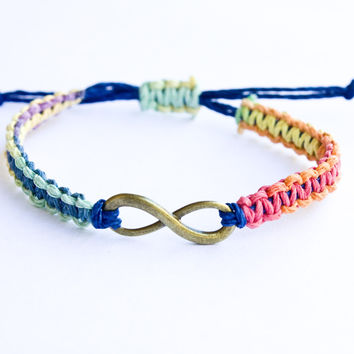 Infinity Bracelet Rainbow with Bronze Charm