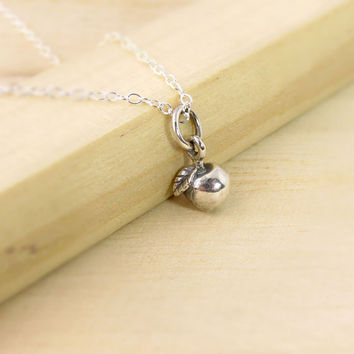 Teachers Gift  - Teacher Necklace - Tiny Sterling Silver Apple Charm - Teacher Appreciation - Big Apple New York - Lifelike Apple - Fruit
