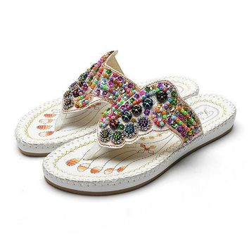 Colorful Rhinestone Bohemia Flat Embroidery Sandals For Women