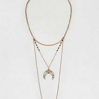 AEO Crescent Pendant Triple Layer Necklace, Gold