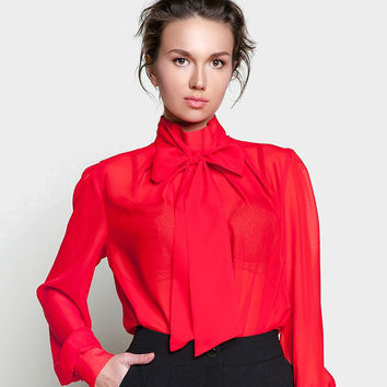 Red Chiffon Blouse,Romantic Blouse with Bow,Bright Blouse classic and elegant.