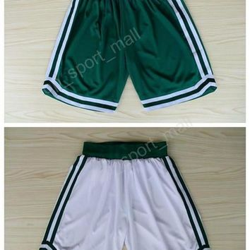 Boston 33 Larry Bird Basketball Shorts Green White Team Men 7 Jaylen Brown 4 Isaiah Thomas Pant Breathable All Stitched Running Short