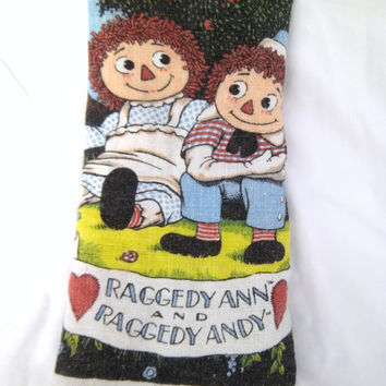 Vintage Raggedy Ann and Andy Dishtowel Wall Hanging Upcycle