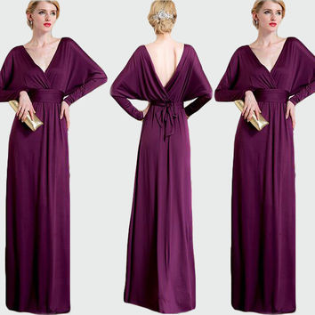 Purple V-Neck Batwing Sleeve High Waisted Maxi Dress