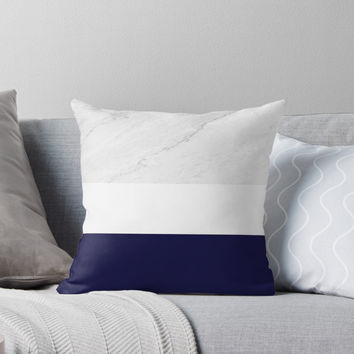 'Marble White Royal Blue' Throw Pillow by by-jwp