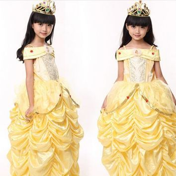 Beauty and the Beast  princess belle Halloween Costumes kid child Girl 100-140cm fashionCostume Suit Fancy Dress Cosplay
