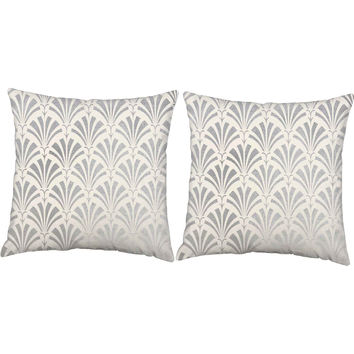 metallic silver art deco fan throw pillows