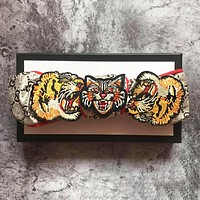 "Hot Sale ""GUCCI"" Popular Women Retro Tiger Head Heart Snake Embroidery Silk Sport Headwrap Headband Hair Band"