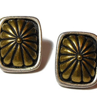 Chico's clip earrings, Chico's bronze and pewter rectangular pewter frame with brass colored design in center