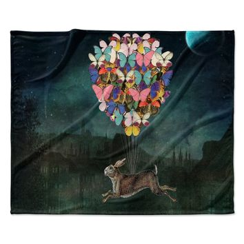"Suzanne Carter ""Cross Country"" Blue Multicolor Fleece Throw Blanket"
