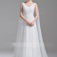 [£ 111.00] A-Line/Princess V-neck Watteau Train Tulle Wedding Dress With Ruffle (002071606)