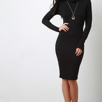 Jersey Knit Turtleneck Midi Dress