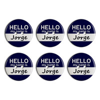 Jorge Hello My Name Is Plastic Resin Button Set of 6