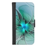 Abstract With Blue, Modern Fractal Art iPhone 8/7 Wallet Case