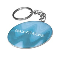 Beach House text on blue ocean waves Keychain